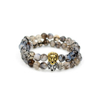 Mode Hommes Femmes Yoga Bracelet Bijoux 8mm Blanc Gragon Cornélienne Pierre Argent Or Couleur Lion Head Charm Élastique Perle Bracelet