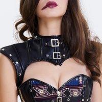 자르기 코르셋 고딕 스팀 펑크 컷 아웃 Corselet 가죽 액세서리 여성의 섹시한 민소매 자르기 어깨 레이스 업