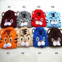 Encantador bebé tigre sombrero para niños sombreros suaves cálidos bebé tigre ganchillo sombrero niño tigre tigre tapa