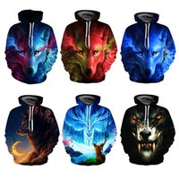 Youthcare Hoodie for Men and Women 3D printed Wolves Face Ho...