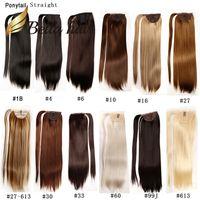 Bella Hair® Remy Sintético Feitos À Mão Rabo de Cavalo Extensões de Cabelo Em Linha reta de 20 polegadas Cor # 1B # 4 # 6 # 8 # 10 # 16 # 27 # 30 # 33 # 60 # 613 # 99J # 27/613 Julienchina