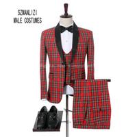 2018 Fashon Italian Design Red Plaid Morning Dinner Suit Hombres Slim Fit novio vestido de boda hombres trajes de boda 3 piezas Mens Smoking
