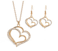 Vintage Altın Gümüş Çift Aşk Kalp Kolye Kolye Dangle Küpe Takı Seti Kadınlar Için Düğün Hediyesi DIY Moda Zanaat Aksesuarları