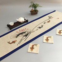 Hand Painting Vintage Fish Chinese Cotton Linen Table Runner...