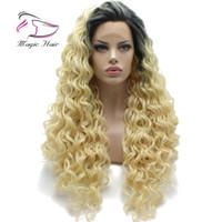 Perruque humaine Full Lace T1B # 613 avec des cheveux de bébé préplumée cheveux remy brésiliens Ombre Blonde 150Densité dentelle frontale perruques de cheveux humains