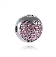 2017 Fit Pulseira de Prata Esterlina Coração Rosa Encantos De Cristal Beads Europeu Rolha Clipe Bloqueio Charme Serve Resultados Da Jóia Pulseira Pandora