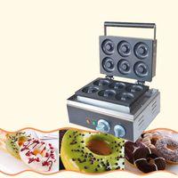 Qihang_top 110 В / 220 В электрический шесть штук пончики вафельница с антипригарным покрытием автоматический пончик пончик делая машину цена