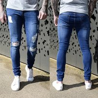 Distressed men Jeans Blue ripped Jeans for Men Stretch Male ...