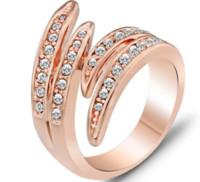 2018 Nuova vendita calda All'ingrosso-romana Royal Ring Anello cristalli austriaci 18K giallo oro riempito esagerato anello
