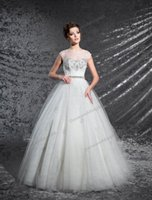 Grace White Tulle Lace Scoop Beads A- Line Wedding Dresses Br...
