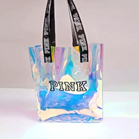 Pink Letter Handbag Transparent Laser shoulder bag Discolora...