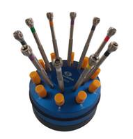 Freies Verschiffen 10 Edelstahl Schraubendreher Set mit rotierender Basis Uhr Schraubendreher Set Uhr Repair Tool Kit Werkzeuge