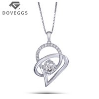 DOVEGGS Platinum Plated Silver 1.13CTW 6.5mm H-I Color Moissanite Pendant Necklace with Accents Heart Shaped for Women