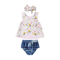 Summer Newborn Baby Girls Outfit Clothes Floral Print Tops S...