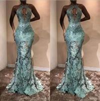 Nueva sirena de encaje sexy vestidos de baile 2019 con cabestro ver a través de apliques vestidos de noche para mujer formal