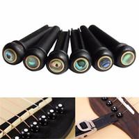 Peças Acessórios Black Ebony Shell Guitarra Bridge Pins Conjunto com ponto de abalone verde para acústica