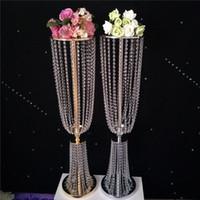 2pcs 80 cm de altura acrílico cristalino de la boda camino principal centro de la boda evento boda decoración / evento decoración del partido para la mesa