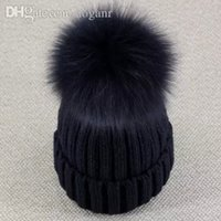 All'ingrosso-Real Fox Fur Pom Pom Donna Beanie Hat Hat con Pompon Ball Reale Raccoon Fur Pompon Knit Bobble Hat Coppia Ski Cap