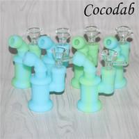 Silicone Bong Water Pipes Silicone Oil Rigs glow mini bubbler bong Narghilè di vetro Bowl nettare collettore strumenti dabber 5ml contenitore in silicone