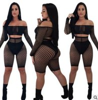 2018 summer womens pants suits Sexy mesh stitching perspecti...