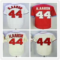 Men' s Baseball Jerseys #44 Hank Aaron H. AARON White Cre...
