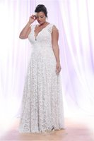 بالاضافة الى حجم فساتين الزفاف الدانتيل الكامل مع إزالة الأكمام الطويلة الرقبة V أثواب الزفاف الطابق طول خط أثواب الزفاف DH396