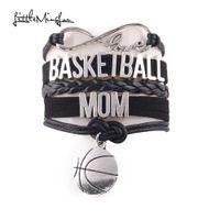 Маленький Minglou бесконечность любовь баскетбол мама браслет баскетбол очарование кожа wrap браслет браслеты для женщин ювелирные изделия