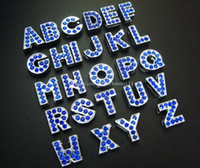 Vente chaude 130pcs-260pcs 8mm A-Z Full Rhinestone Blue Color Slide Lettres Charme DIY Pet nom Bracelet Bracelet!