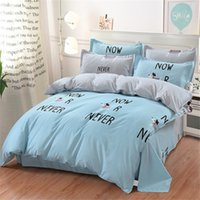 8 Photos Wholesale Dog Print Bed Sheets   Animal Series Bedding Set Dog  Cartoon Kids Cotton Blue Duvet