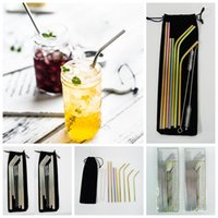 Stainless Steel Straws Straight Bend Reusable Straws with cl...