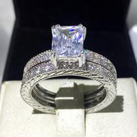 Мода ювелирные изделия Принцесса вырезать 4ct Cz 5A Циркон камень 14kt белого золота заполнены обручальное обручальное кольцо свадебный комплект Sz 5-11