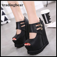Fashion Buckles Hollow Out Platorm Wedge High Heels Invisibl...