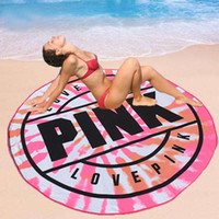Pink Microfiber Round Beach Towel 160cm Soft Quick Drying Sw...