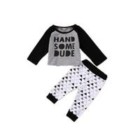 Nouveau-né bébé garçons vêtements haut + pantalon 2 PCS ensemble beau mec lettre imprimer Triangle motif infantile bébé vêtements décontractés bambin enfants pyjama
