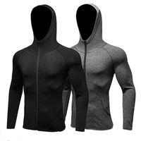 Chemise sport à manches longues Hommes Chapeau + Zipper Running T-shirts Gym Vêtements de sport Sport Top Veste de sport à séchage rapide pour hommes
