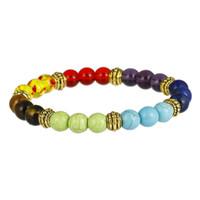 Heißer verkauf 7 chakra armbänder schwarz lava healing balance perlen buddha gebet naturstein yoga armband für männer frauen