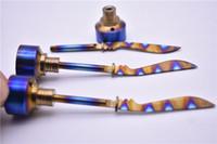Gökkuşağı Titanyum Carb Cap Aracı Kubbesiz Titanyum Tırnak 14mm 18mm Titanyum düz kılıç Dab Aracı ile Carb Cap Dabber