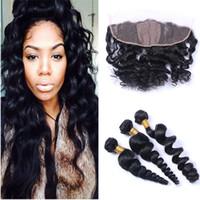 Soie Base de dentelle Frontal avec des paquets en vrac vague onduleux de cheveux humains 3 offres Bundle avec 4x4 soie Base de dentelle Frontal Fermeture