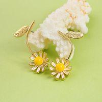 Einfache frische dame schmuck gelb blume gänseblümchen mädchen ohrstecker