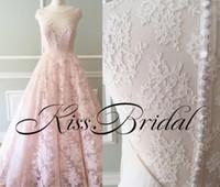 Vintage Volle Spitze Brautkleider Echt Fotos Erröten Rosa Brautkleider Eine Linie Jewel Neck Button Formale Verlobungskleid Für Braut