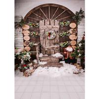 الفينيل عيد الميلاد صورة خلفية مطبوعة كرات سانتا كلوز قوس باب الخشب جارلاند الشتاء الثلوج الطفل الاطفال التصوير الخلفيات