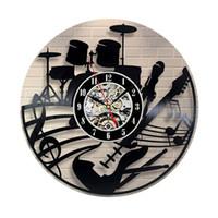 Relógio de Parede de alta Qualidade CD Record Design Moderno Tema Musical Decoração de Casa Relógios de Arte para Sala de estar Quarto @ LS JY06