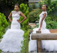 2018 stile sudafricano sirena abiti da sposa abiti da sposa di lusso livelli di lusso riducle gonna applique perline di pizzo perline da sposa con collo sheer