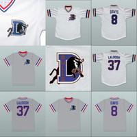 Bull Durham 37 Ebby 'Nuke' LaLoosh 8 Bater Davis Movie Jersey 100% Costurado Botão Costurado Retro Camisolas De Beisebol Branco Cinza Frete Grátis