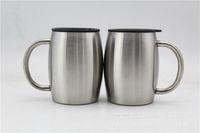 14 унций из нержавеющей стали кофе пивные кружки с крышкой 14 унций двойной стен изолированные кофе пивного чая кружка тумблер с ручкой