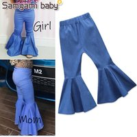 Baby Girls Mom Jeans Match Family Pants Big Boot Cut Denim T...