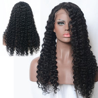 ZhiFan Top Glueless Human Hair Afro Kinky Curly Wig Black Lo...