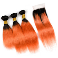Ombre 1b 350 Orange Farbe Spitzeschliessen Mit Bundles Silk Gerade Menschliches Haar Spinnt Mit Spitze Schließung 4 Teile / los Virgin Russische Haar