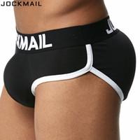 JOCKMAIL Marca Reforço Mens Cueca Cuecas Sexy Bulge Gay Penis pad Frente + Voltar Magia nádegas Dupla Removível Push Up Cup