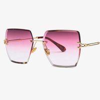 크리스탈 사각형 무테 선글라스 그라데이션 렌즈 투명 투명한 태양 안경 여성을위한 럭셔리 빈티지 브랜드 큰 숙녀 안경